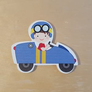 C&F Wooden Blue Racing Car Character