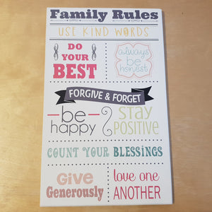 C&F Wooden Family Rules Quote Plaque