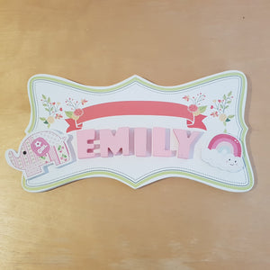 C&F Wooden Floral Garden Ribbon Name Plate