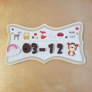 C&F Wooden Forest Friends Ribbon Name Plate