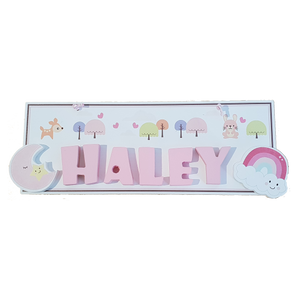 C&F Wooden Happy Forest Rectangle Name Plate