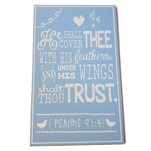 C&F Wooden He Shall Cover Thee (Blue) Quote Plaque