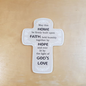 C&F Wooden Home Cross Fun Plaque