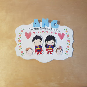 C&F Wooden Home Sweet Home Big Ribbon Name Plate