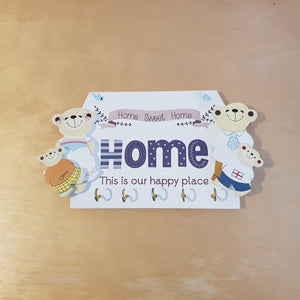 C&F Wooden Home This Is Our Happy Place Family Key Holder