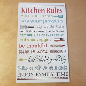 C&F Wooden Kitchen Rules Quote Plaque