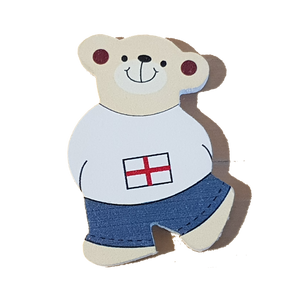 C&F Wooden Little Boy Bear Character - English Flag