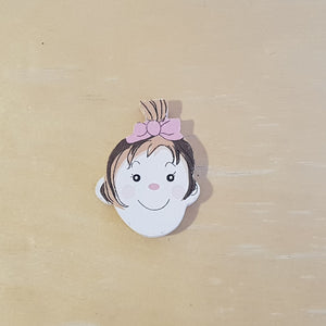 C&F Wooden Little Girl Head Character