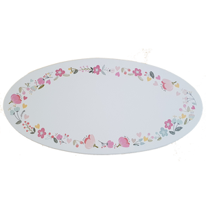 C&F Wooden Oval Floral Plain Board