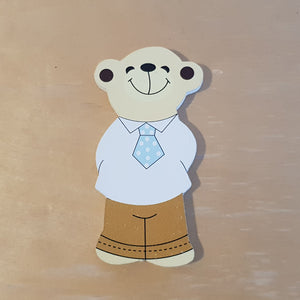 C&F Wooden Papa Bear Character - Blue Tie