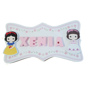 C&F Wooden Pink Flowers Ribbon Name Plate