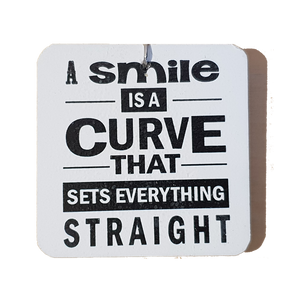 C&F Wooden Quote Magnet - A Smile Is A Curve