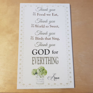 C&F Wooden Thank You For The Food (Grace) Quote Plaque