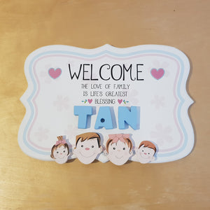 C&F Wooden Welcome Family Name Plate