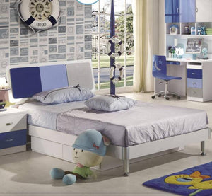 HB Rooms Modern Blue Queen Size Bed (833#)