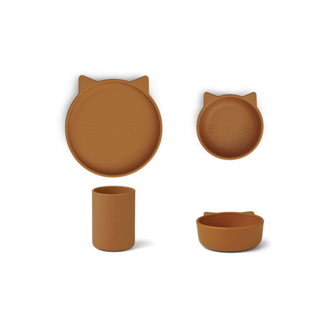 LIEWOOD // Cyrus Silicone Tableware 3 pack - Junior // Cat mustard - Baby and the Gang
