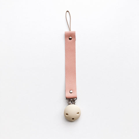 BEZISA // Leather Pacifier Clip // Blush - Baby and the Gang