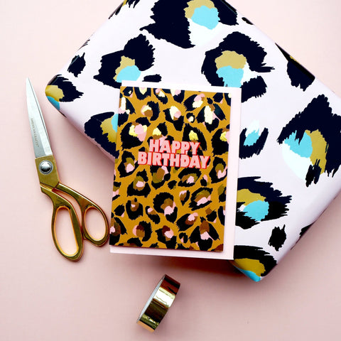 Eleanor Bowmer / /Happy Birthday Leopard Print Card - Baby and the Gang