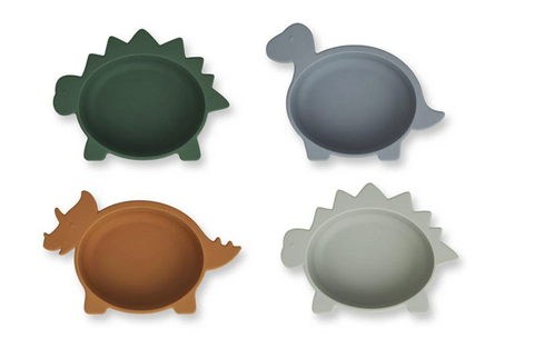 LIEWOOD // Iggy Silicone Bowls 4 pk // Dino Blue Multi Mix - Baby and the Gang