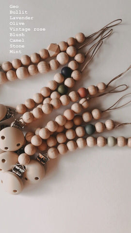 BEZISA // Wooden Pacifier Clip // Blush - Baby and the Gang