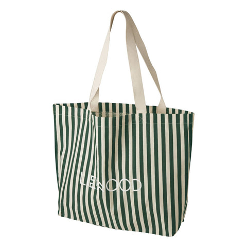 LIEWOOD // Tote Bag Big - Stripe: Garden green/sandy - Baby and the Gang