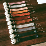 BEZISA // Leather Pacifier Clip // Stone - Baby and the Gang