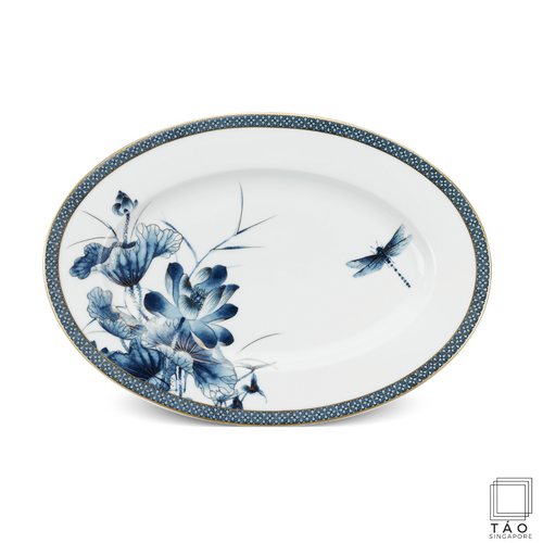 Golden Lotus: Oval Plate (37cm) (4802815524964)