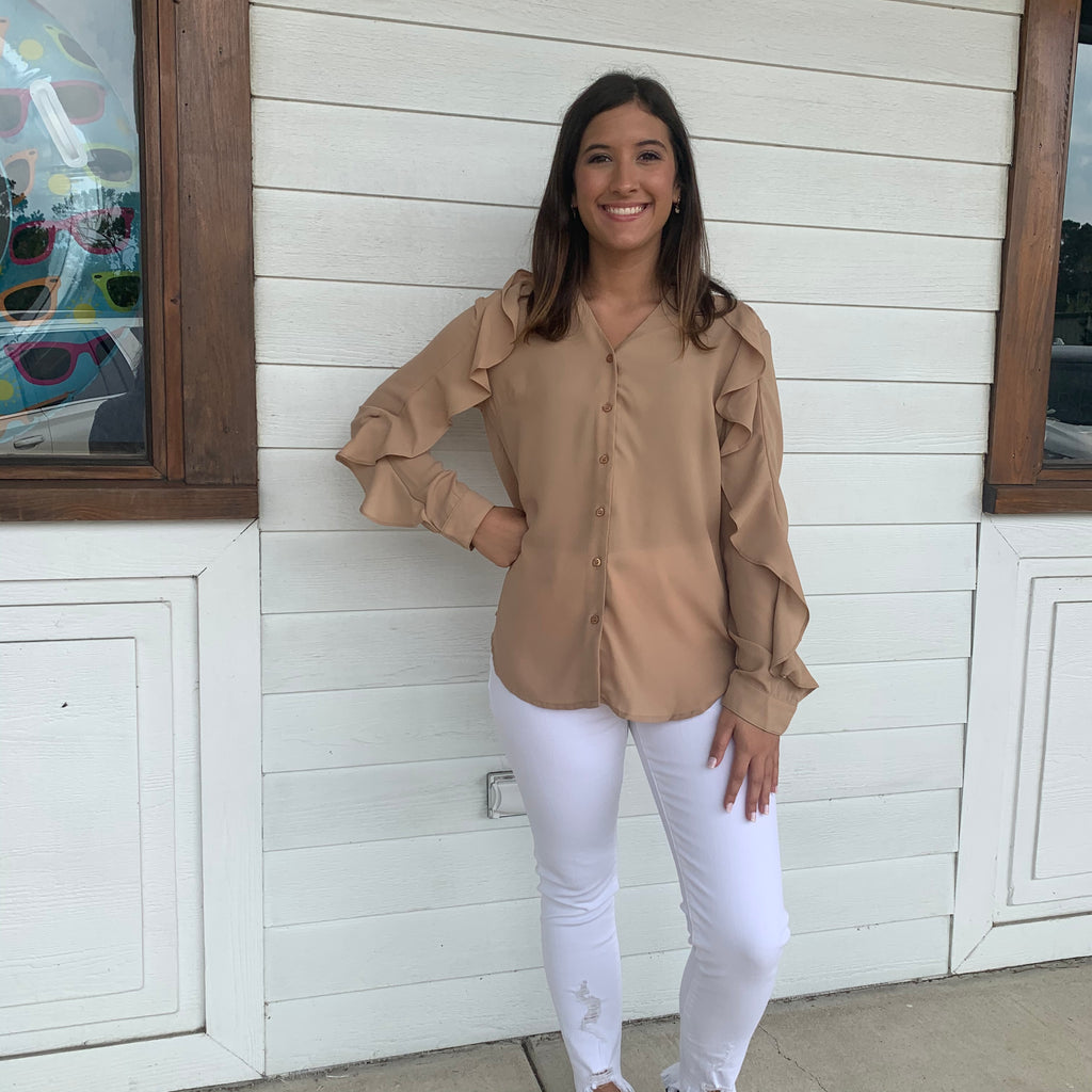 Taupe Long Sleeve Top. Polyester