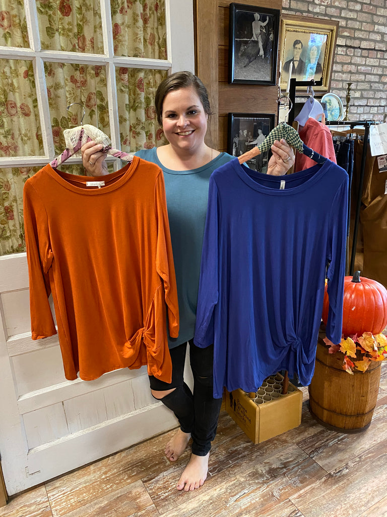 Plus Long Sleeve Twist Detail Top. Rust. Rayon/Spandex