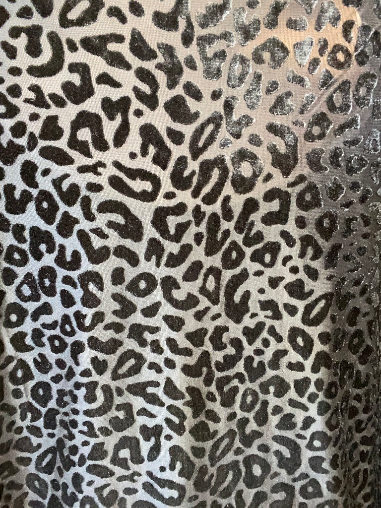 Black Burn-Out Leopard Top. Rayon/Polyester