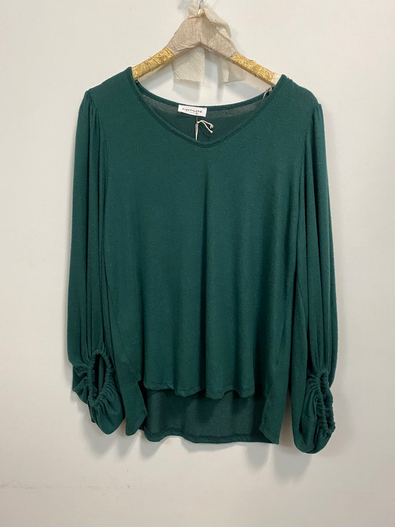 Hunter Green V Neck Top.