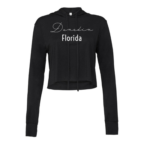 Dunedin Women's Black Crop Top Hoodie