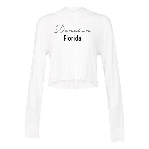Dunedin Women's White Crop Top Hoodie