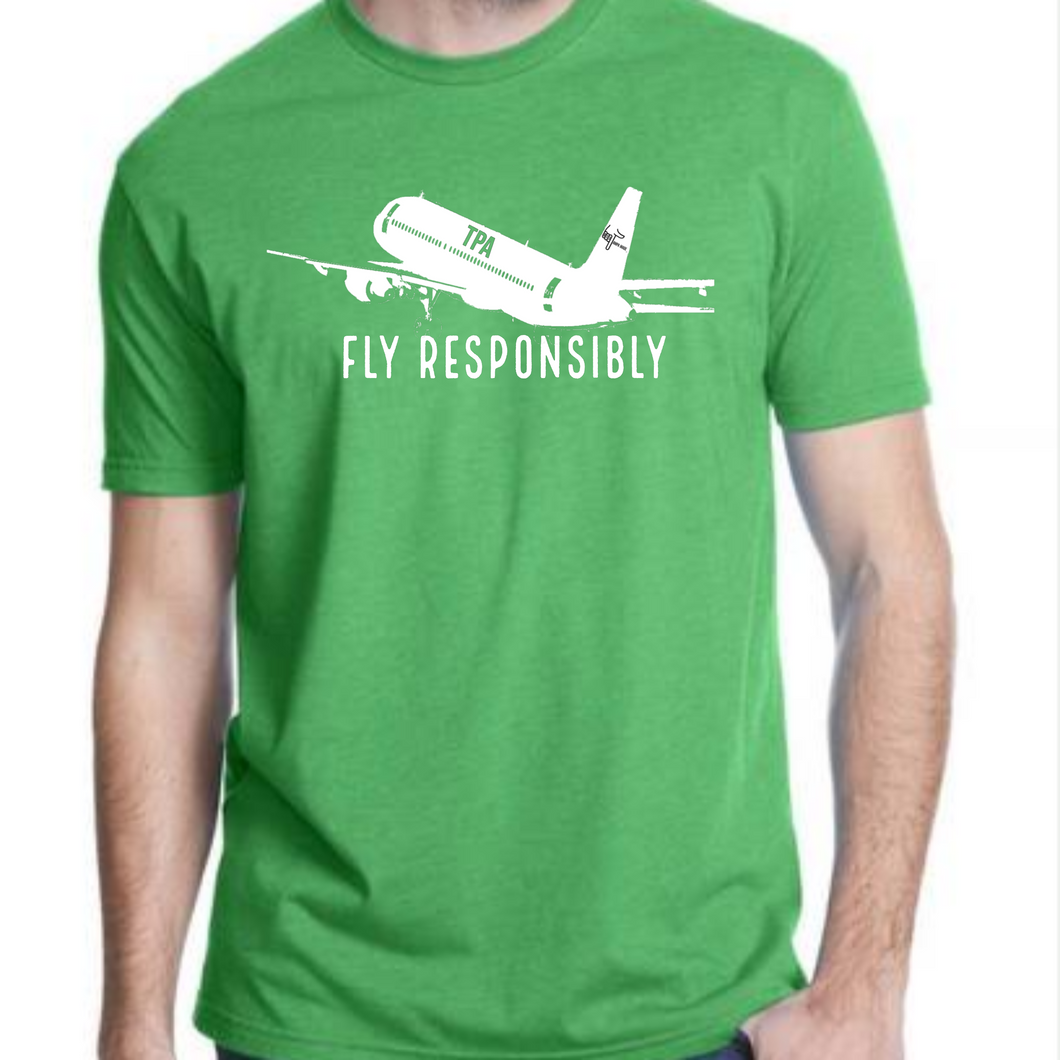 Fly Responsibly Men's Green Tee