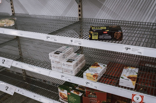 Empty store shelves - food shortage