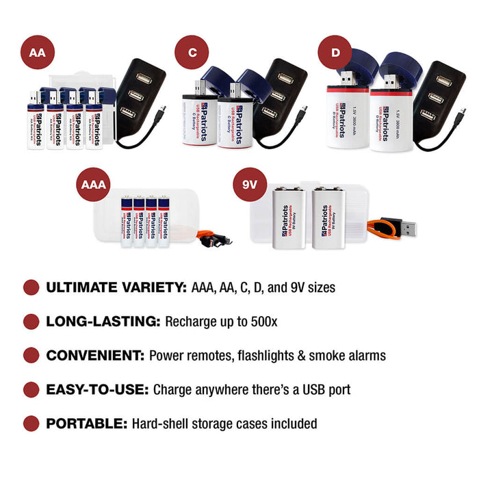 USB-Rechargeable Battery Variety Pack - Gold