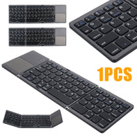 Universal Foldable Wireless bluetooth 3.0 Keyboard Ultra Mini Wireless Folding Touch Pad Keypad For IOS Android Microsoft