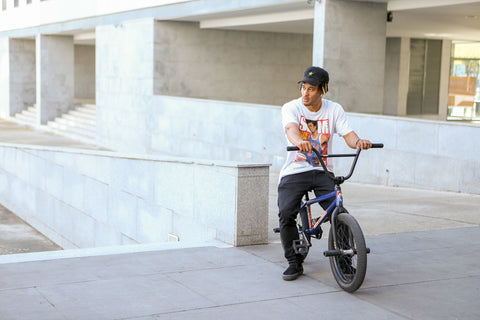 Chad Kerley sitting on his bike
