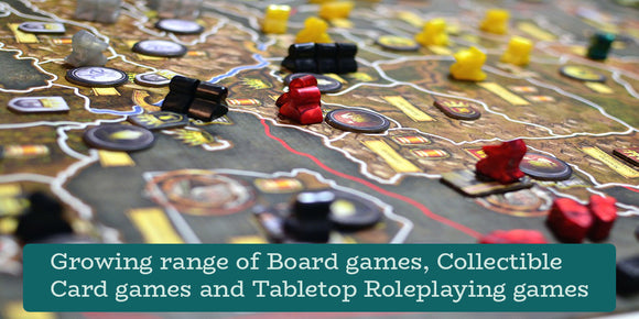 Growing range of Board games, Collectible Card games and Tabletop Roleplaying games