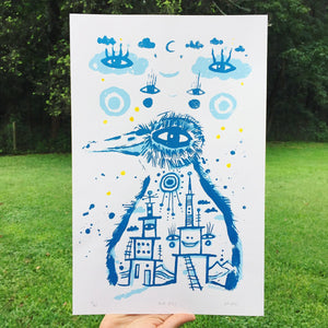 Silkscreen Poster - Blue Bird