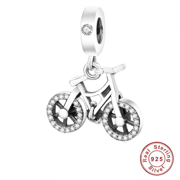 Cycolinks 925 Sterling Silver Bead Charm Brilliant Bicycle
