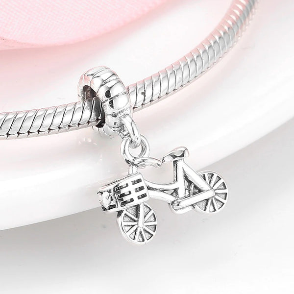 Cycolinks 925 Sterling Silver Bicycle Pendant Charm