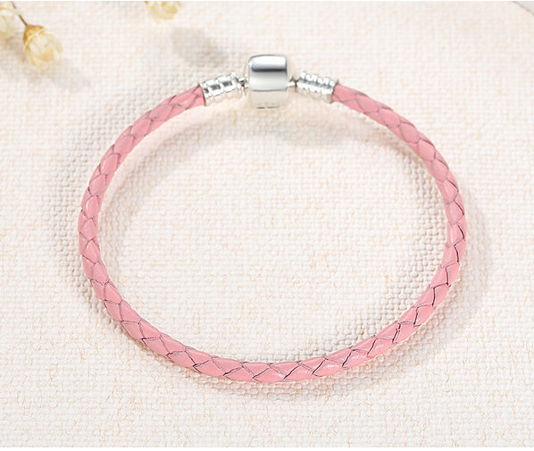 Cycolinks 925 Sterling Silver & Braided Leather Rope Chain Bracelet