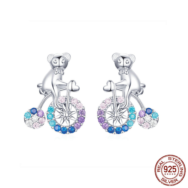 Brand new these stunning sterling silver bike earrings with cubic zirconia gemstones are a beautiful addition to a ladies outfit, in your choice of 2 colors available to match your desired style. Every piece is beautifully arranged and made with 925 sterling silver high polished finish & high-quality cubic zircon