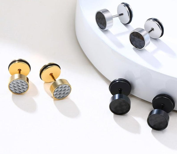Cycolinks Circle Stainless Steel Carbon Fibre Stud Earrings