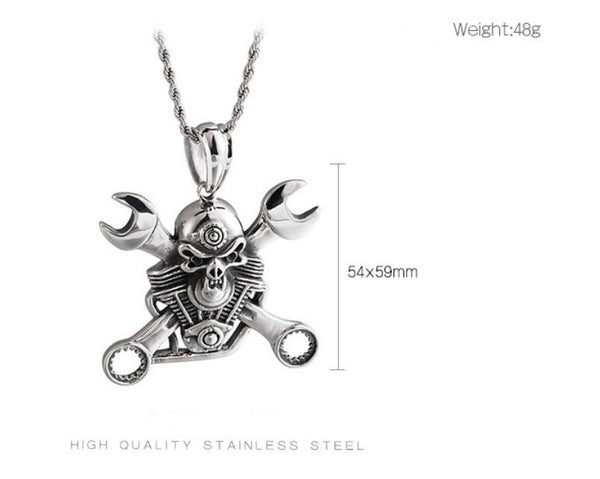 Cycolinks Engine Skull & Spanners Pendant Necklace