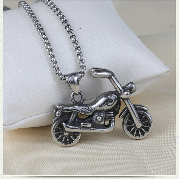 Cycolinks Retro Stainless Steel Motorcycle Necklace
