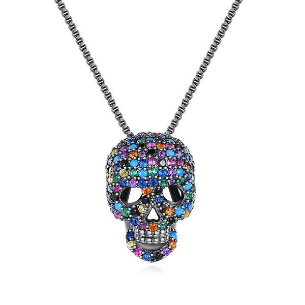 Cycolinks Rainbow Skull Cubic Zircon Necklace