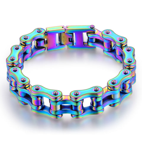Cycolinks Mens Rainbow Bike Chain Bracelet