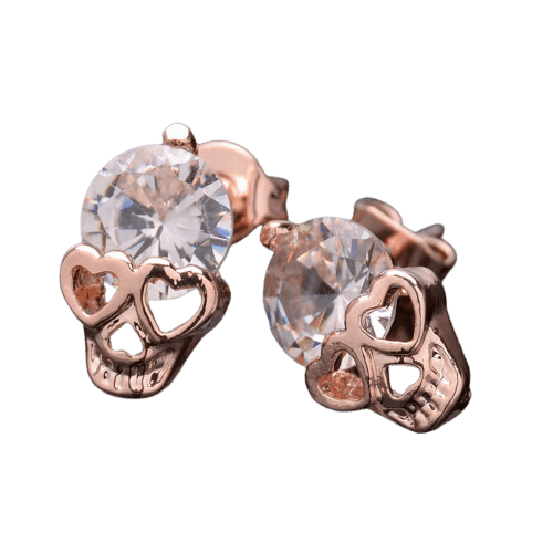 Cycolinks Rose Gold Skull Earrings - Cycolinks
